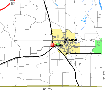 Mitchell, IN (47446) map