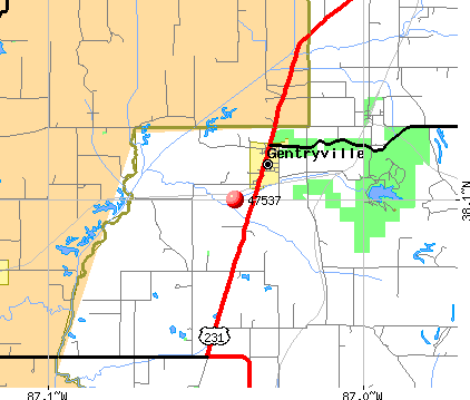 Gentryville, IN (47537) map