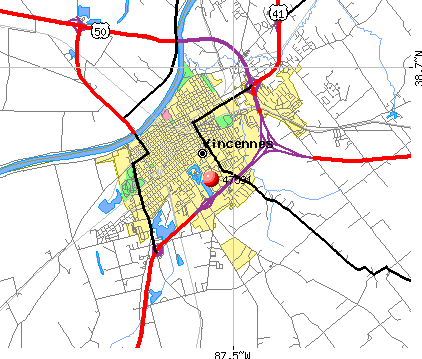 Vincennes, IN (47591) map