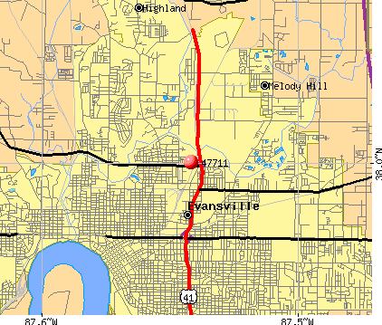 Evansville, IN (47711) map