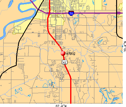 Terre Haute, IN (47802) map