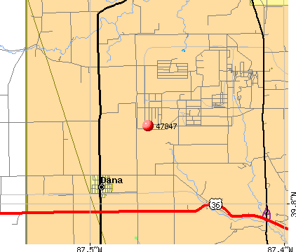 Dana, IN (47847) map