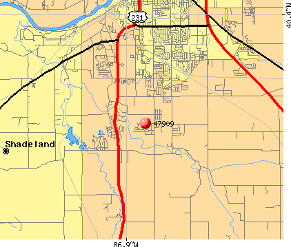 Shadeland, IN (47909) map