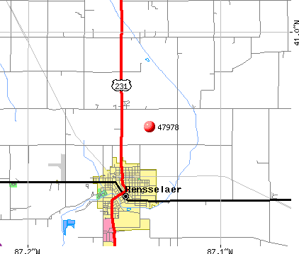 Rensselaer, IN (47978) map