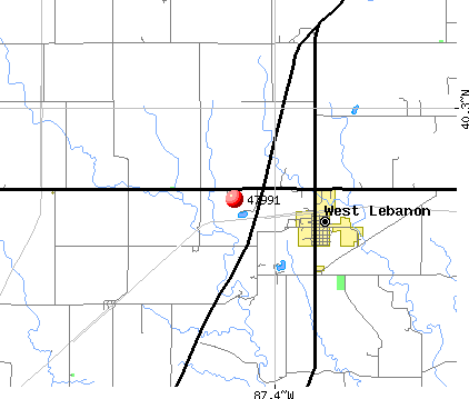 West Lebanon, IN (47991) map