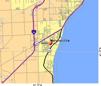 Marysville, MI (48040) map