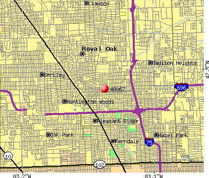 Royal Oak, MI (48067) map