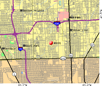 Warren, MI (48091) map