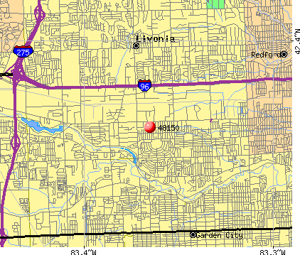 Livonia, MI (48150) map
