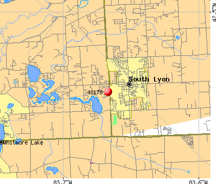 South Lyon, MI (48178) map