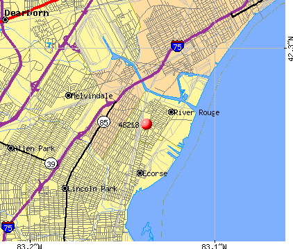 River Rouge, MI (48218) map