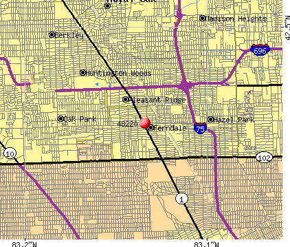 Ferndale, MI (48220) map