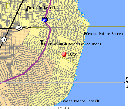 Grosse Pointe Woods, MI (48236) map