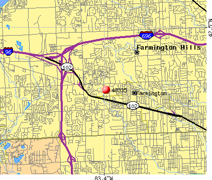 Farmington Hills, MI (48335) map