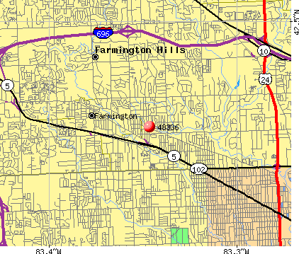 Farmington Hills, MI (48336) map