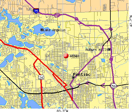 Pontiac, MI (48340) map