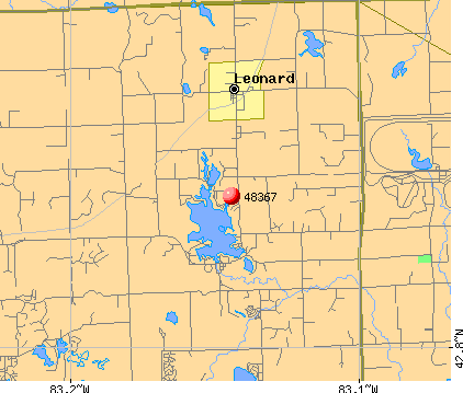 Leonard, MI (48367) map