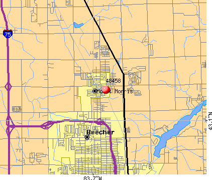 Beecher, MI (48458) map