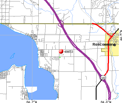 Roscommon, MI (48653) map
