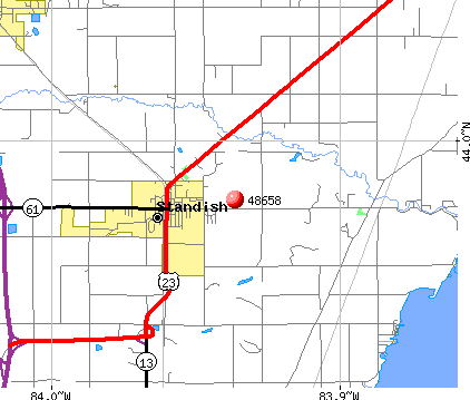 Standish, MI (48658) map