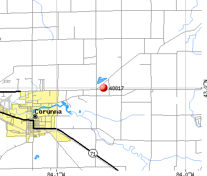 Corunna, MI (48817) map