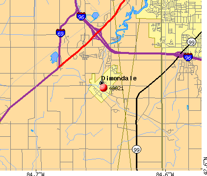 Dimondale, MI (48821) map