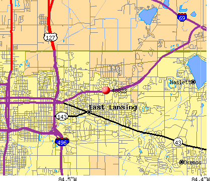 East Lansing, MI (48823) map
