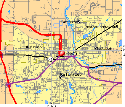 Kalamazoo, MI (49007) map