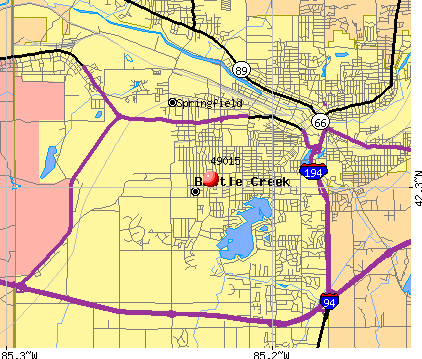 Battle Creek, MI (49015) map