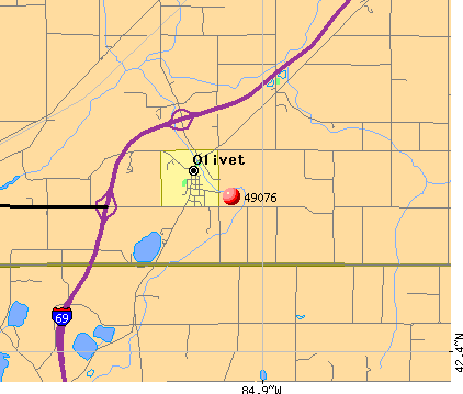 Olivet, MI (49076) map