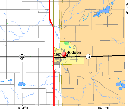 Hudson, MI (49247) map