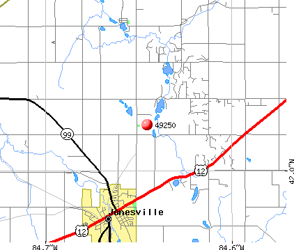 Jonesville, MI (49250) map