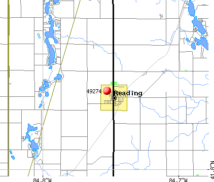 Reading, MI (49274) map