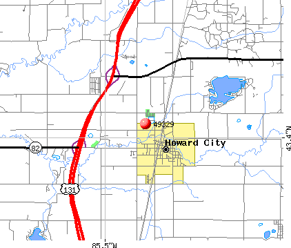Howard City, MI (49329) map
