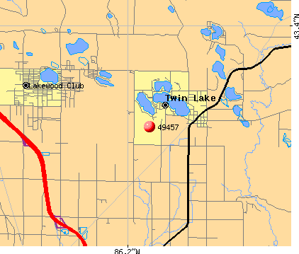 Twin Lake, MI (49457) map