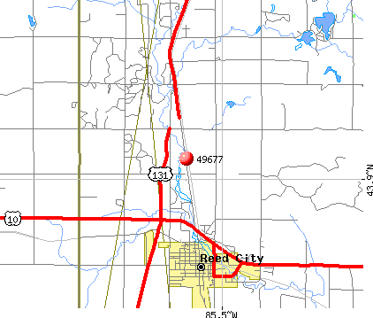 Reed City, MI (49677) map