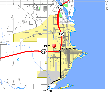 Escanaba, MI (49829) map