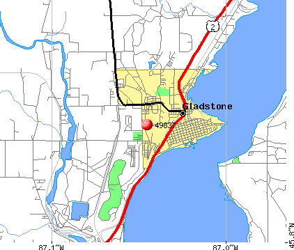 Gladstone, MI (49837) map