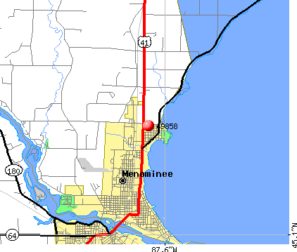 Menominee, MI (49858) map