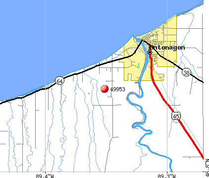 Ontonagon, MI (49953) map