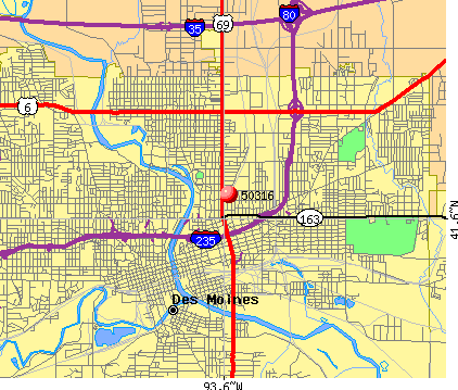 Des Moines, IA (50316) map