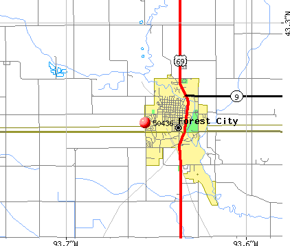 Forest City, IA (50436) map