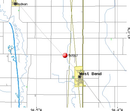 West Bend, IA (50597) map
