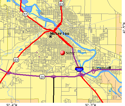 Waterloo, IA (50702) map