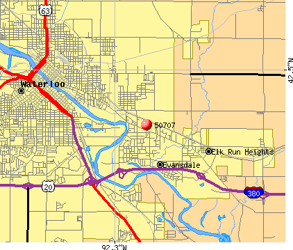 Evansdale, IA (50707) map