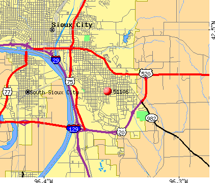 Sioux City, IA (51106) map