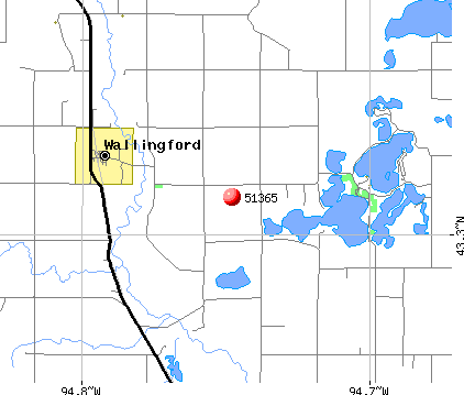 Wallingford, IA (51365) map