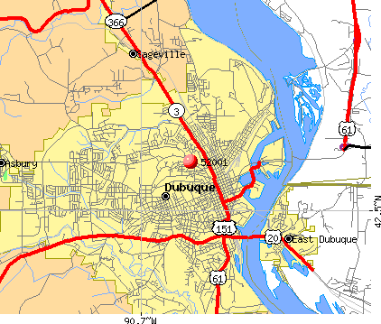Dubuque, IA (52001) map