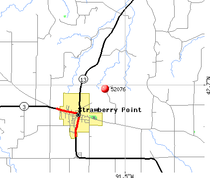 Strawberry Point, IA (52076) map