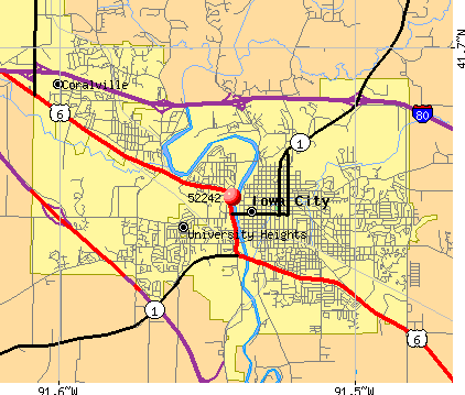 Iowa City, IA (52242) map